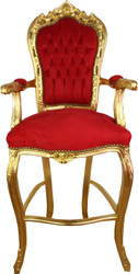 Casa Padrino Baroque Highchair Bar Chair Red / Gold - Bar Stool Chair Furniture
