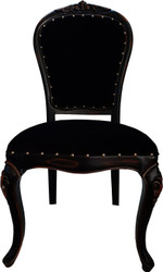 Casa Padrino Baroque Luxury Dining Chair Black / Black-Brown Antique Look - Luxury Hotel Furniture - Baroque Furniture