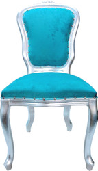 Casa Padrino Baroque luxury dining chair Louis Turquoise / Silver - Baroque furniture