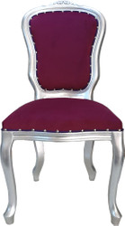 Casa Padrino Baroque Luxury Dining Chair Louis Purple / Silver - Baroque Furniture