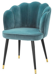 Casa Padrino luxury velvet dining chair with armrests sea green / black / gold 60 x 63 x H. 83 cm - Kitchen Chair in Clamshell Design
