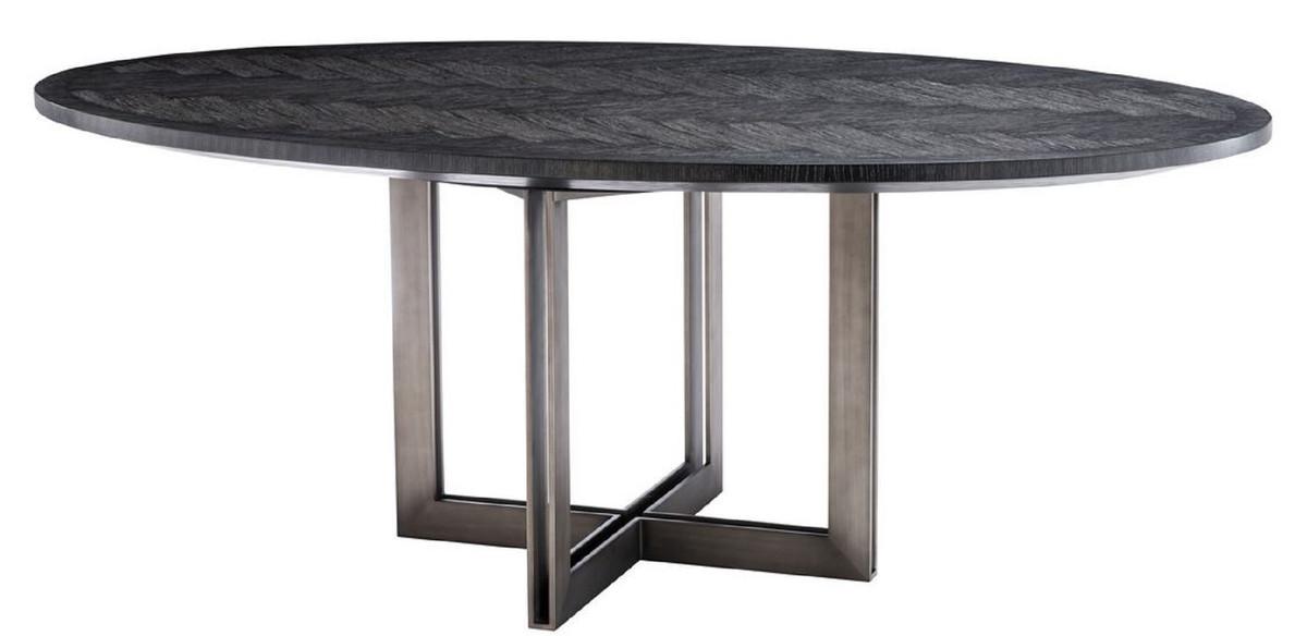 Casa Padrino table à manger de luxe noir / bronze 200 x 120 x H. 76 cm -  Table de Cuisine Ovale - Mobilier de Salle à Manger de Luxe