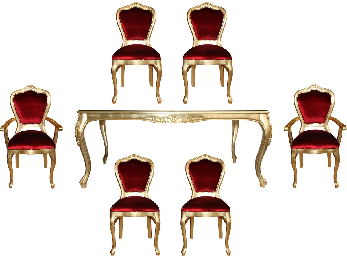 Casa Padrino Luxury Baroque Dining Room Set Bordeaux Red Gold 1 Dining Table With Glass Top And 6 Chairs Baroque Dining Room Furniture Made In Italy Luxury Collection