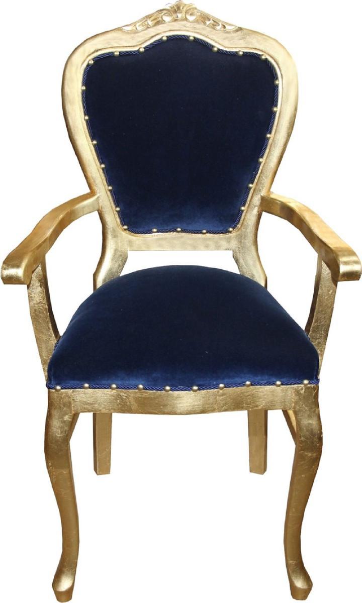 Casa Padrino Set Di Sala Da Pranzo Barocco Di Lusso Blu Reale Oro 1 Tavolo Da