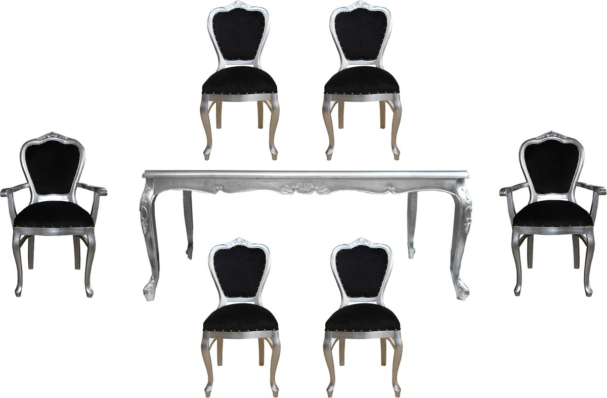 Casa Padrino Luxury Baroque Dining Room Set Black Silver 1 Dining Table With Glass Top And 6 Chairs Baroque Dining Room Furniture Made In Italy Luxury Collection