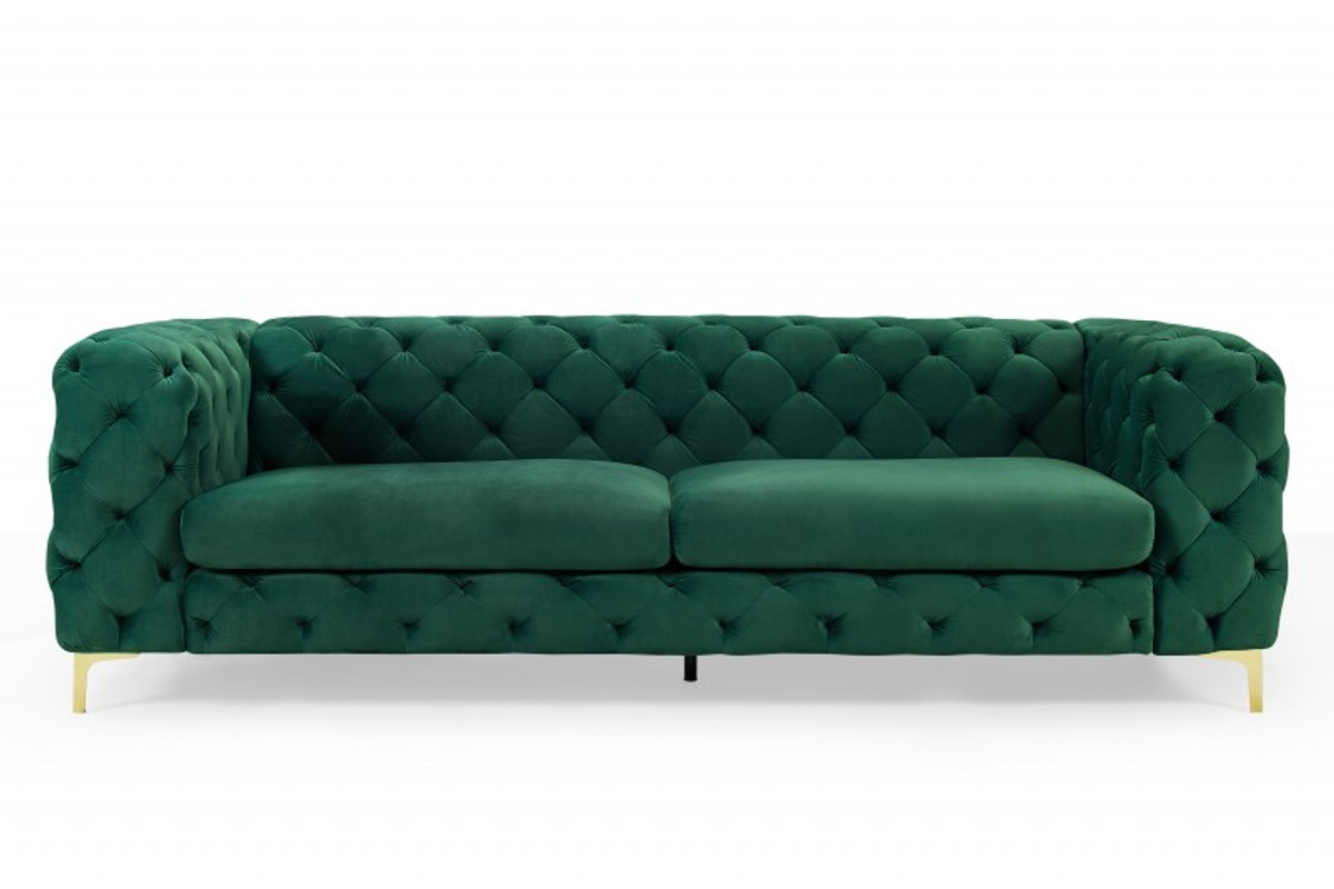 Casa Padrino Chesterfield Sofa In Grun Gold 240 X 97 X H