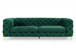 Casa Padrino Chesterfield Sofa in Green / Gold 240 x 97 x H 73cm - Designer Chesterfield Sofa