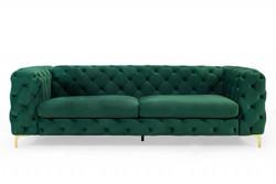 Casa Padrino Chesterfield Sofa in Grün / Gold 240 x 97 x H. 73cm - Designer Chesterfield Sofa