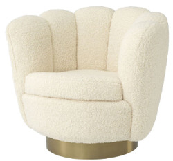 Casa Padrino luxury swivel armchair white / brass 95 x 83 x H. 83 cm - Living Room Armchair with Faux Lambskin - Luxury Furniture
