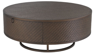Casa Padrino luxury coffee table bronze Ø 100 x H. 40.5 cm - Round Living Room Table with 2 Drawers - Luxury Living Room Furniture  – Bild 1