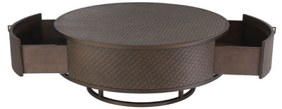 Casa Padrino luxury coffee table bronze Ø 100 x H. 40.5 cm - Round Living Room Table with 2 Drawers - Luxury Living Room Furniture  – Bild 4