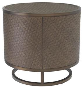 Casa Padrino luxury side table bronze Ø 55 x H. 50.5 cm - Round Oak Veneer Table with Stainless Steel Frame - Luxury Living Room Furniture – Bild