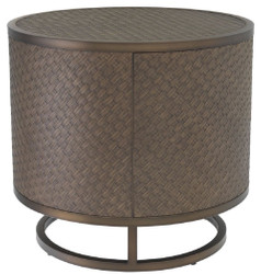 Casa Padrino luxury side table bronze Ø 55 x H. 50.5 cm - Round Oak Veneer Table with Stainless Steel Frame - Luxury Living Room Furniture