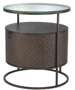 Casa Padrino luxury bedside table bronze Ø 50 x H. 56 cm - Round Side Table with Drawer and Glass Top - Luxury Bedroom Furniture – Bild 1