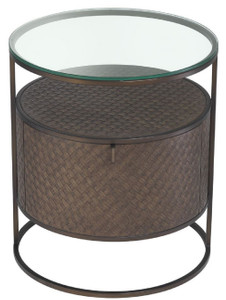 Casa Padrino luxury bedside table bronze Ø 50 x H. 56 cm - Round Side Table with Drawer and Glass Top - Luxury Bedroom Furniture – Bild 3