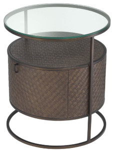 Casa Padrino luxury bedside table bronze Ø 50 x H. 56 cm - Round Side Table with Drawer and Glass Top - Luxury Bedroom Furniture – Bild 4