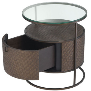 Casa Padrino luxury bedside table bronze Ø 50 x H. 56 cm - Round Side Table with Drawer and Glass Top - Luxury Bedroom Furniture – Bild 5