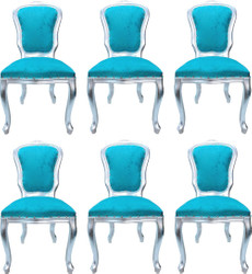 Casa Padrino Luxury Baroque Dining Room Set Louis Turquoise / Silver 50 x 60 x H. 104 cm - 6 Handcrafted Dining Chairs - Baroque Dining Room Furniture - Made in Italy