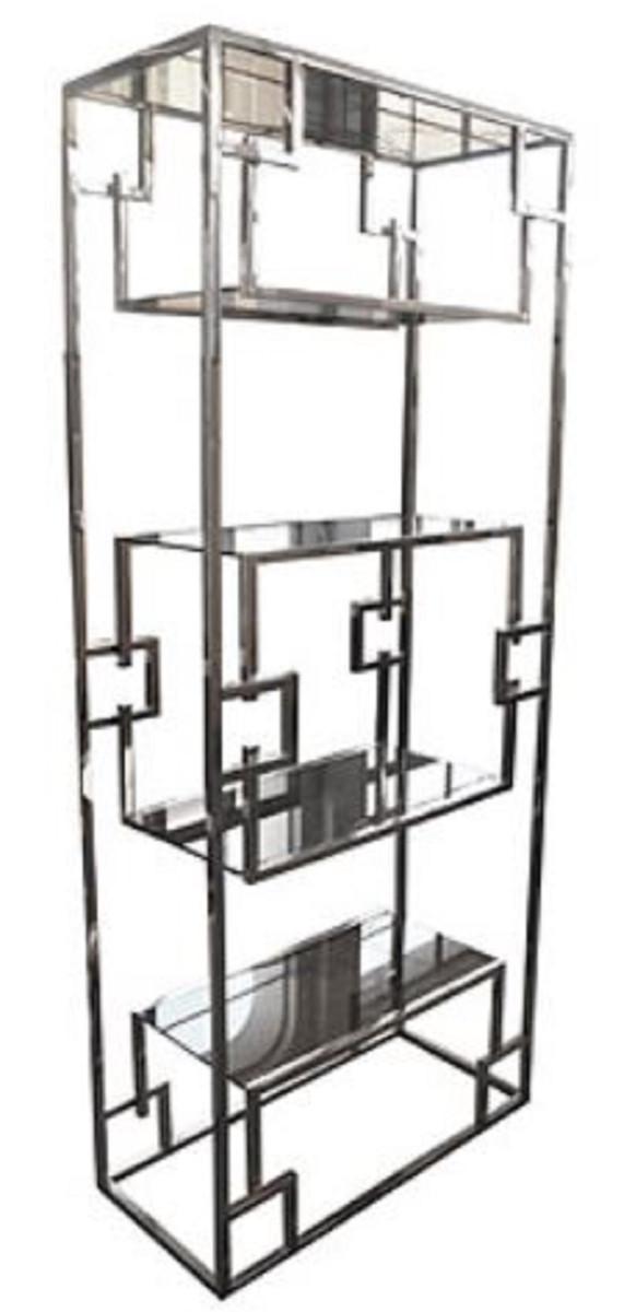 Casa Padrino cabinet mensola di lusso argento 85 x 40 x H. 200 cm - Cabinet  in Acciaio Inossidabile con Ripiani in Vetro - Cabinet Soggiorno - Mobile  ...