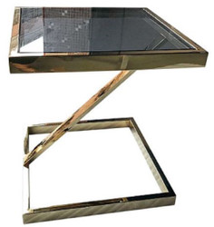Casa Padrino luxury side table gold / black 45 x 45 x H. 50 cm - Stainless Steel Table with Tinted Glass Top