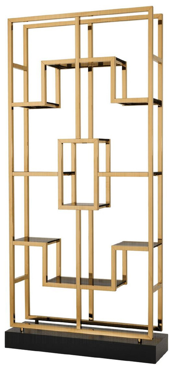 Casa Padrino luxury shelf cabinet brass / black 108 x 29 x H. 240 cm -  Stainless Steel Living Room Cabinet with 10 Glass Shelves - Luxury Living  Room ...