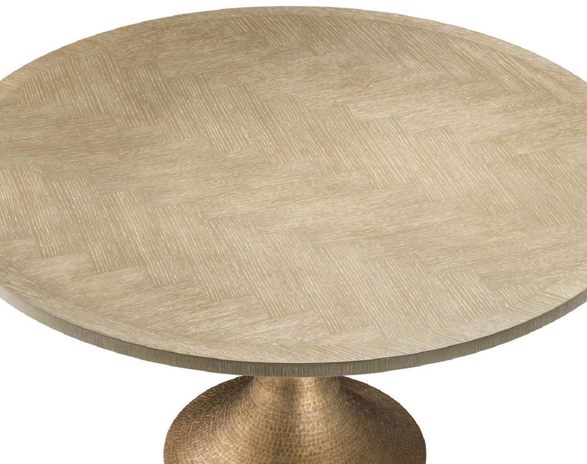 Casa Padrino tavolo da pranzo di lusso natura / ottone Ø 140 x H. 76 cm -  Tavolo da Cucina Rotondo - Mobili da Pranzo di Lusso