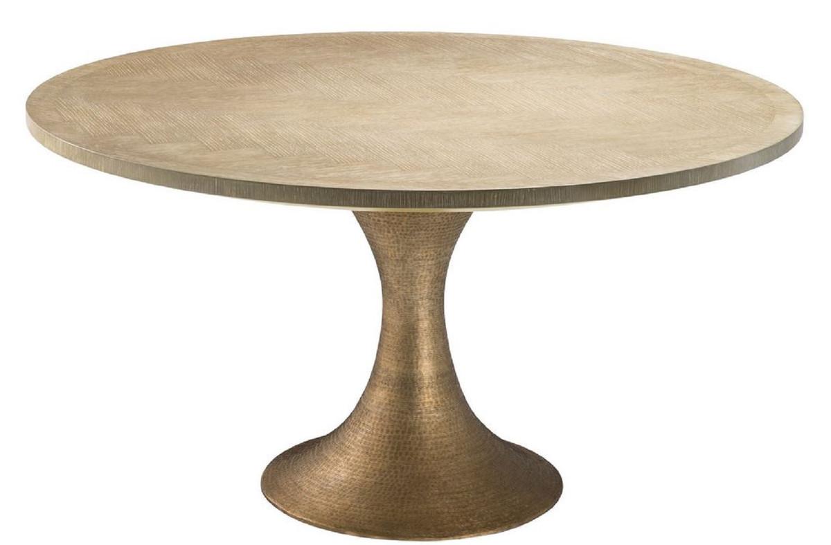 Casa Padrino mesa de comedor de lujo natural / latón Ø 140 x H. 76 cm -  Mesa de Cocina Redonda - Muebles de Comedor de Lujo