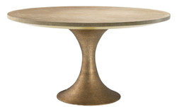 Casa Padrino luxury dining table nature / brass Ø 140 x H. 76 cm - Round Kitchen Table - Luxury Dining Room Furniture