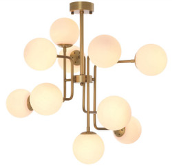 Casa Padrino luxury chandelier antique brass / white 84 x 84 x H. 73 cm - Modern Chandelier with Round Glass Lampshades