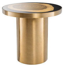 Casa Padrino Luxury Side Table Brass / Black / Brown Ø 55 x H. 51 cm - Round Stainless Steel Table with Suar Wood Tree Disc - Luxury Furniture