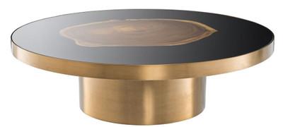 Casa Padrino luxury coffee table brass / black / brown Ø 120 x H. 34 cm - Round Stainless Steel Living Room Table with Suar Wood Tree Slice - Luxury Furniture  – Bild