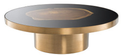 Casa Padrino luxury coffee table brass / black / brown Ø 120 x H. 34 cm - Round Stainless Steel Living Room Table with Suar Wood Tree Slice - Luxury Furniture