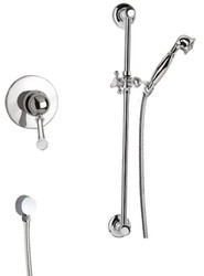 Casa Padrino luxury shower faucets set with Swarovski crystal glass silver - Single Lever Mixer with Shower Rail and Hand Shower - Bathroom Shower Set