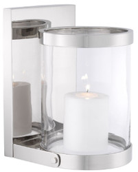 Casa Padrino luxury wall hurricane silver 17.5 x 19.5 x H. 25.5 cm - Wall Candle Holder - Deco Accessories