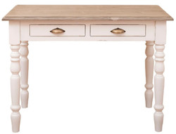 Casa Padrino country style desk with 2 drawers antique white / natural / antique brass 109 x 60 x H. 79 cm - Country Style Office Furniture