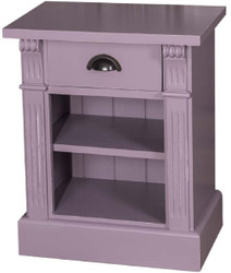 Casa Padrino country style bedside table with drawer and shelf antique purple 49 x 33 x H. 60 cm - Solid Wood Night Dresser - Bedside Cabinet - Country Style Bedroom Furniture