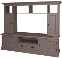 Casa Padrino country style living room television cabinet olive 207 x 46 x H. 166 cm - Solid Wood TV Cabinet - Living Room Cabinet - Country Style Living Room Furniture