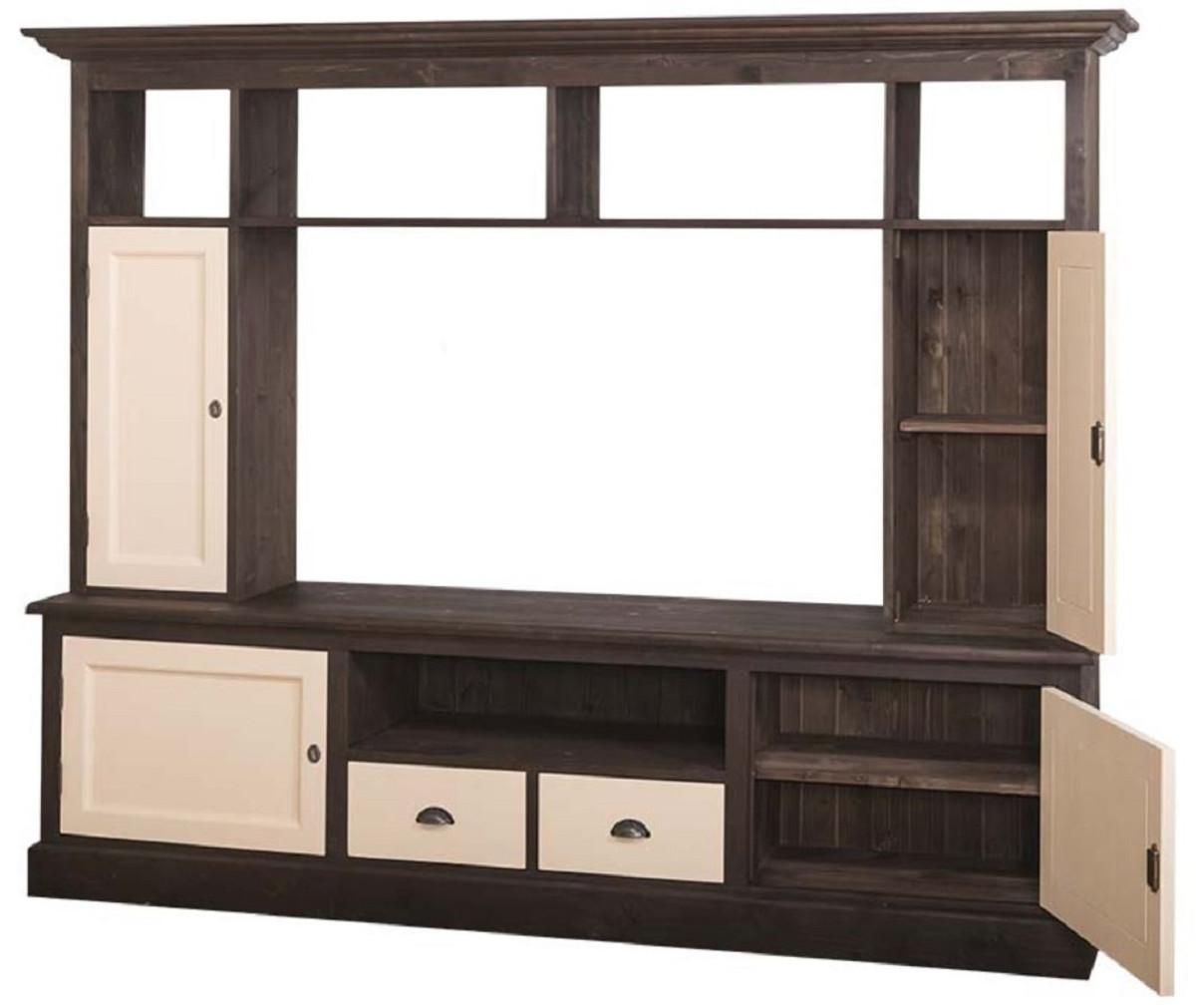 Casa Padrino armadio TV per soggiorno in stile country marrone scuro /  beige 207 x 46 x H. 166 cm - Armadio TV in Legno Massello - Armadio per ...