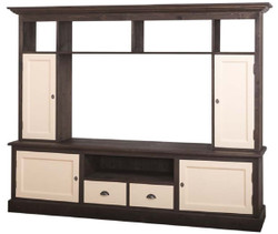 Casa Padrino country style living room television cabinet dark brown / beige 207 x 46 x H. 166 cm - Solid Wood TV Cabinet - Living Room Cabinet - Country Style Living Room Furniture