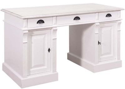 Casa Padrino Country Style Solid Wood Desk with 3 Drawers and 2 Doors White 140 x 70 x H. 78 cm - Country House Style Office Furniture – Bild
