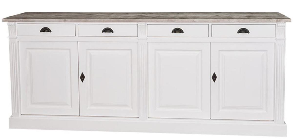 Casa Padrino Landhausstil Küchenschrank mit 4 Türen und 4 Schubladen Weiß /  Naturfarben 219 x 51 x H. 90 cm - Massivholz Schrank - Landhausstil Möbel