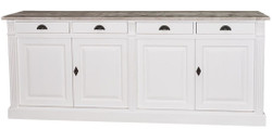 Casa Padrino country style kitchen cabinet with 4 doors and 4 drawers white / natural 219 x 51 x H. 90 cm - Solid Wood Cabinet - Country Style Furniture