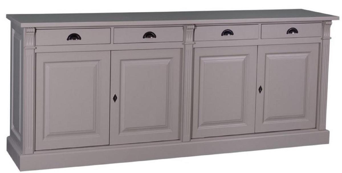 Casa Padrino Landhausstil Küchenschrank mit 4 Türen und 4 Schubladen Grau  219 x 51 x H. 90 cm - Massivholz Schrank - Landhausstil Möbel