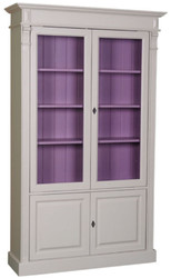Casa Padrino country style bookcase light gray / purple 119 x 39 x H. 197 cm - Living Room Cabinet with 4 Doors - Solid Wood Cabinet - Showcase - Country Style Living Room Furniture