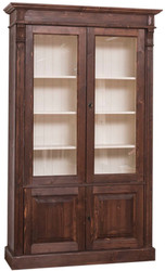 Casa Padrino country style bookcase dark brown / cream 119 x 39 x H. 197 cm - Living Room Cabinet with 4 Doors - Solid Wood Cabinet - Showcase - Country Style Living Room Furniture