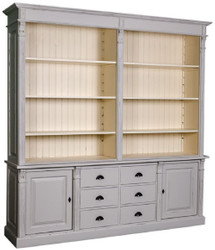 Casa Padrino country style bookcase antique gray / cream 223 x 51 x H. 240 cm - Living Room Cabinet with 2 Doors and 6 Drawers - Solid Wood Cabinet - Country Style Furniture