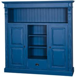 Casa Padrino Landhausstil Bücherschrank Antik Blau 60 x 36 x H. 100 cm - Massivholz Schrank mit 2 Türen und Schublade - Wohnzimmerschrank - Landhausstil Möbel