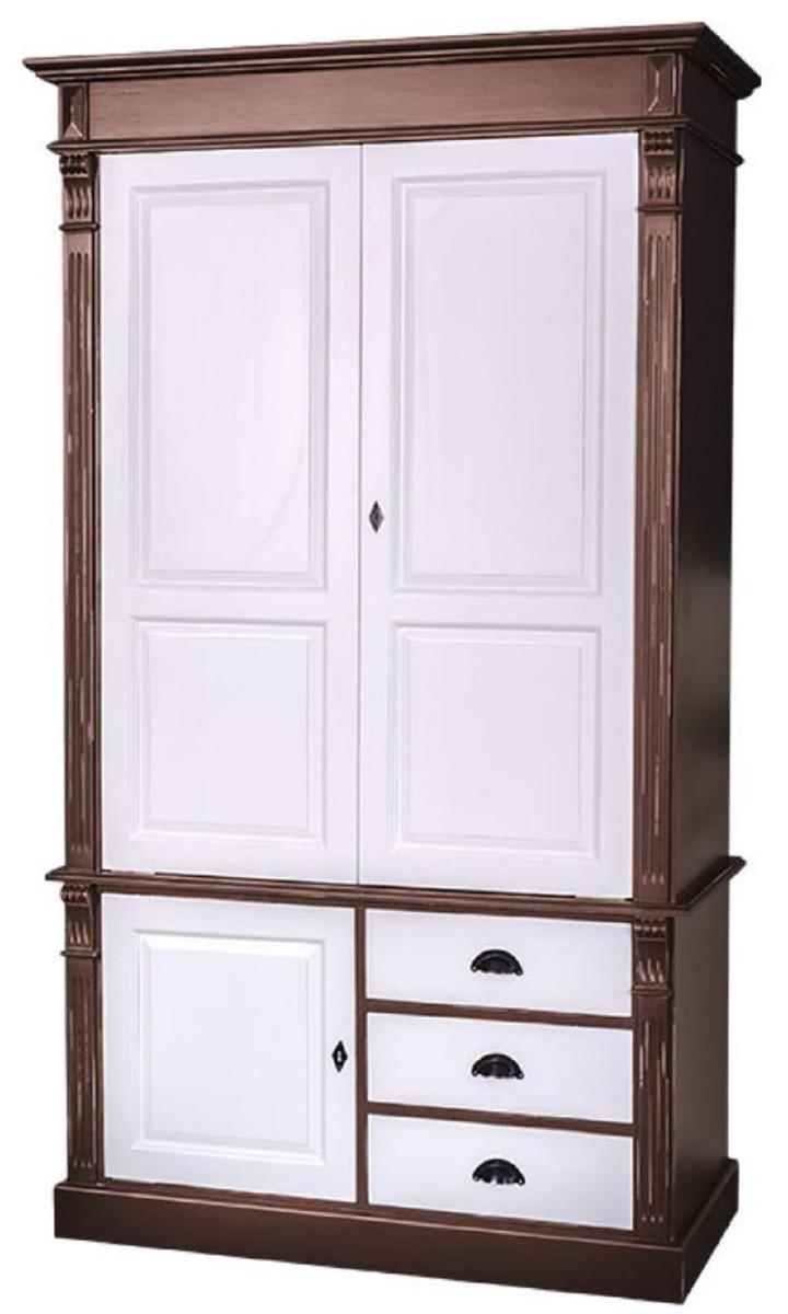 Casa Padrino Landhausstil Kleiderschrank Antik Braun / Weiß 120 x 59 x H.  210 cm - Massivholz Schlafzimmerschrank mit 3 Türen und 3 Schubladen - ...