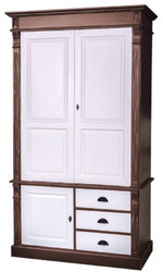 Casa Padrino Country Style Wardrobe Antique Brown / White 120 x 59 x H. 210 cm - Solid Wood Bedroom Cabinet with 3 Doors and 3 Drawers - Country Style Bedroom Furniture