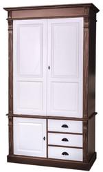 Casa Padrino Landhausstil Kleiderschrank Antik Braun / Weiß 120 x 59 x H. 210 cm - Massivholz Schlafzimmerschrank mit 3 Türen und 3 Schubladen - Landhausstil Schlafzimmermöbel